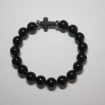 Black Agate Bracelet with Cross by A Crystal Passion