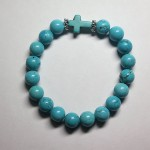 Blue Howlite Bracelet with Cross by A Crystal Passion