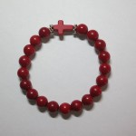 Red Coral Bracelet with Cross by A Crystal Passion