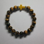 Tiger Eye Bracelet with Cross by A Crystal Passion