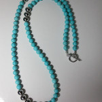 Blue Howlite Long Gemstone Necklace