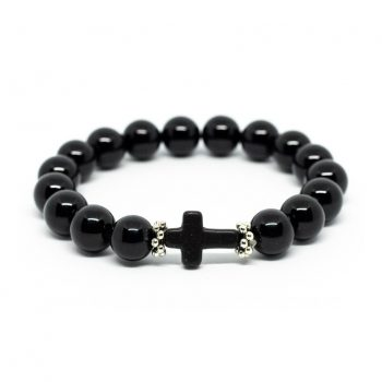 Black Agate Bracelet with Cross