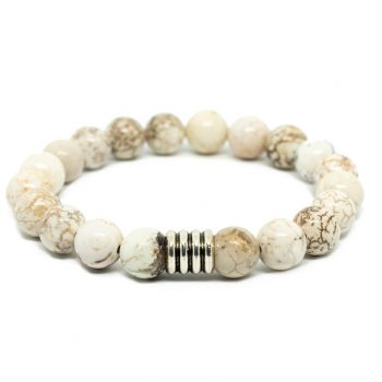 White Howlite Male Bracelet