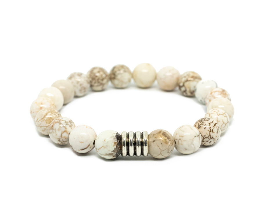 White Howlite Male Bracelet