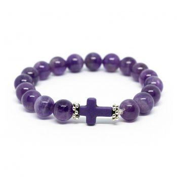 Amethyst Bracelet with Cross