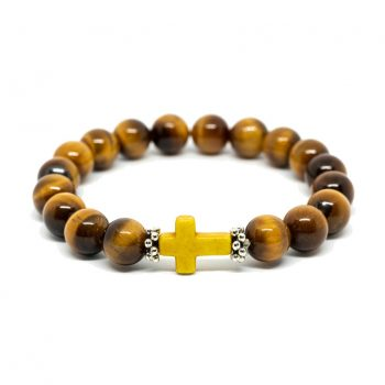 Tiger Eye Bracelet with Cross