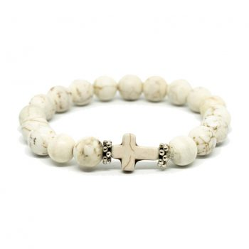 White Howlite Bracelet with Cross